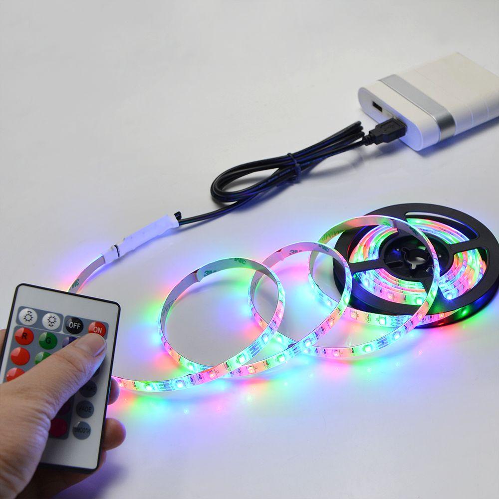 Lampe de bande USB à LED 2835SMD DC5V Lampe à LED flexible Bande Ruban 1M 2M 3M 4M 5M HDTV TV Écran de bureau Fond Éclairage Biais