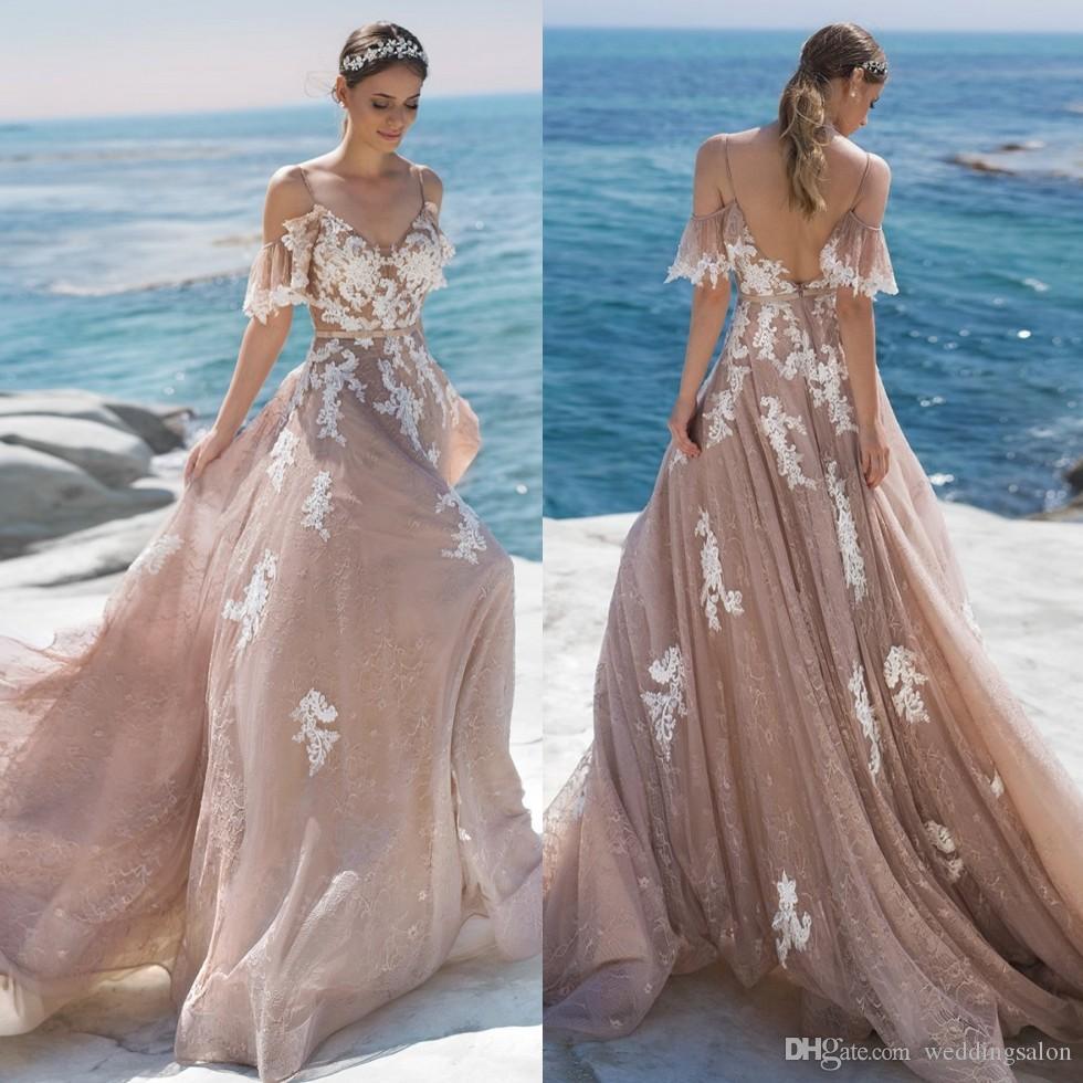 Elegante Lace Backless casamento de praia Vestidos Alças V Neck mangas Appliqued vestidos de noiva Tulle Trem da varredura robe de mariée