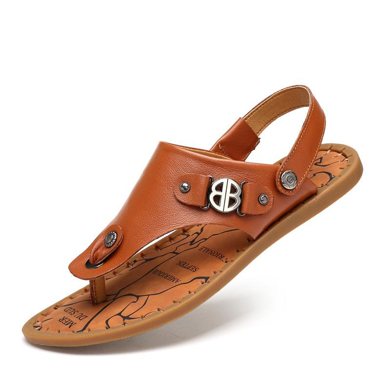 Sandalen Sandals Men Verão Sapatos de couro de vaca Anti Slip Aberto Toe Calçados casuais Verão Sandals Menet