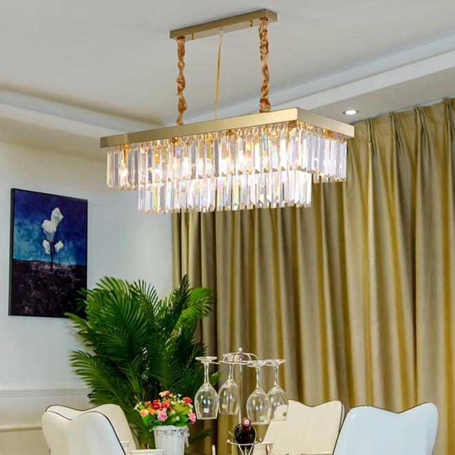 Новый дизайн современный прямоугольник L 80 см W 30 см хрустальная люстра свет светодиодные золотые подвесные светильники для кухни остров столовая спальня