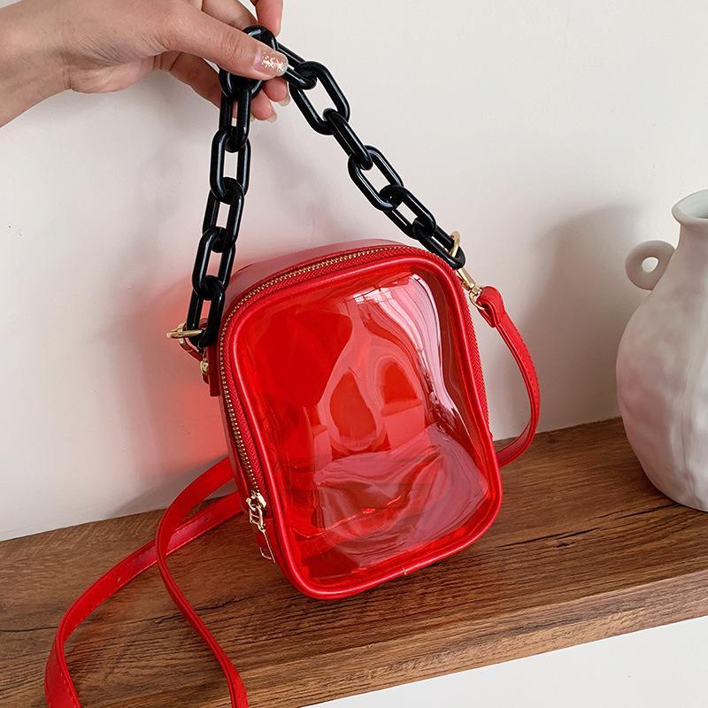 вскользь корейской версии 2020 новый мешок плеча женщин портативного желе сумка прозрачный маленький квадратный