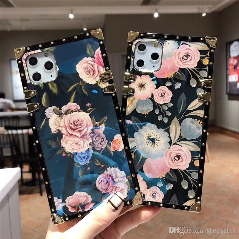 iPhone 11 için Pro Max X XS XR 8 7 Artı Galaxy Note10 S10 S9 A30, A50 A70 Markalar Telefon Arka Kapak için Tasarımcı Lüks Baskı Çiçek Telefon Kılıfı