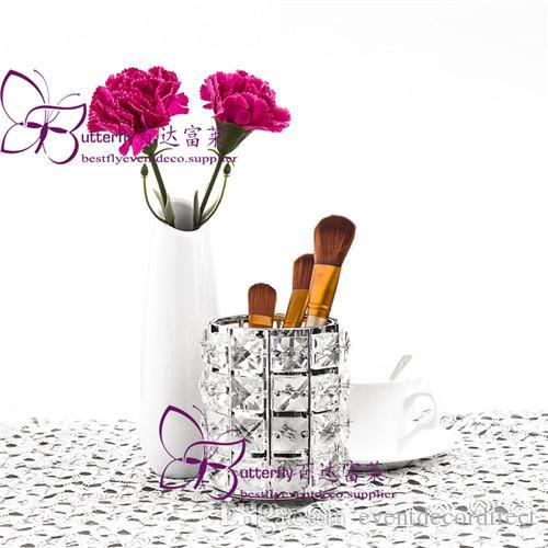 Perlas de cristal Maquillaje Cepillo Titular Pluma Tenedor Lápiz Organizador de almacenamiento con el recipiente de vela Titular de vela
