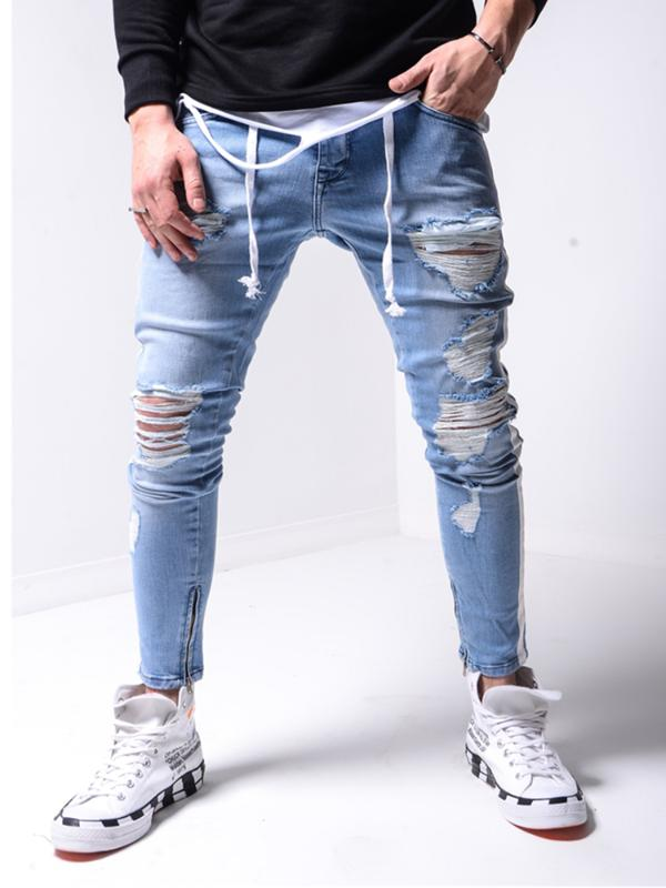Uomini elastico rotto foro Jeans aderenti 2020 Side Stripe Zipper matita pantaloni jeans moda pantaloni casuali Hip hop Pantaloni felpati