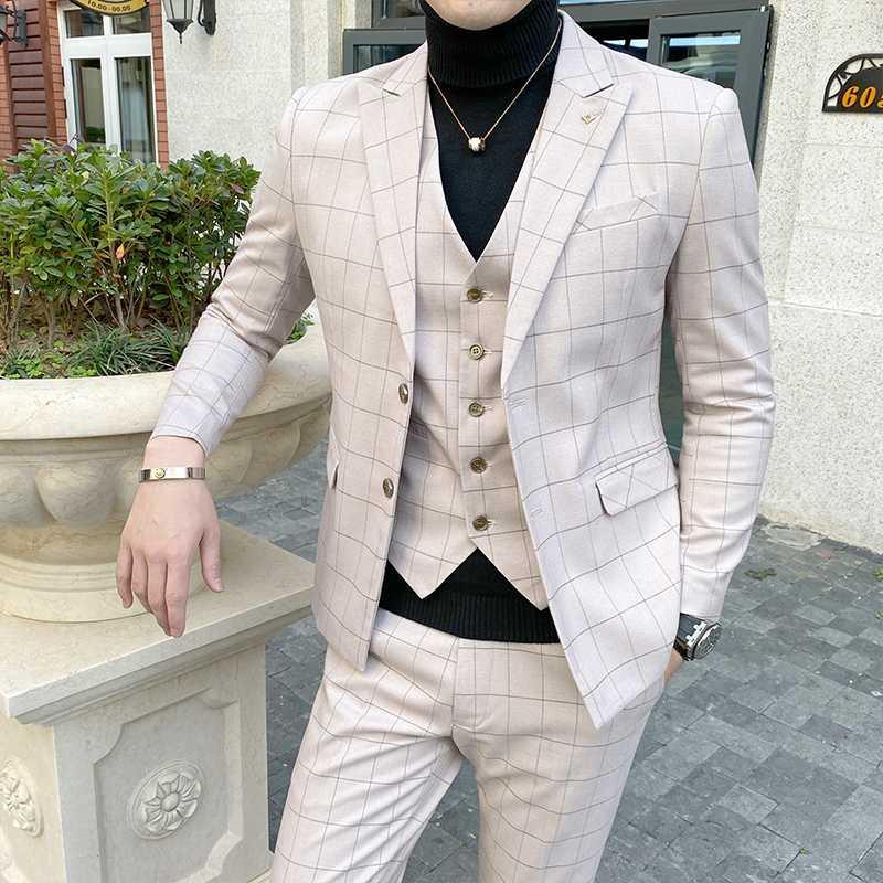 (Jackets+Vest+Pants) 2020 New Fashion Men's spring High quality pure cotton business suits/Male slim fit groom dress Blazers