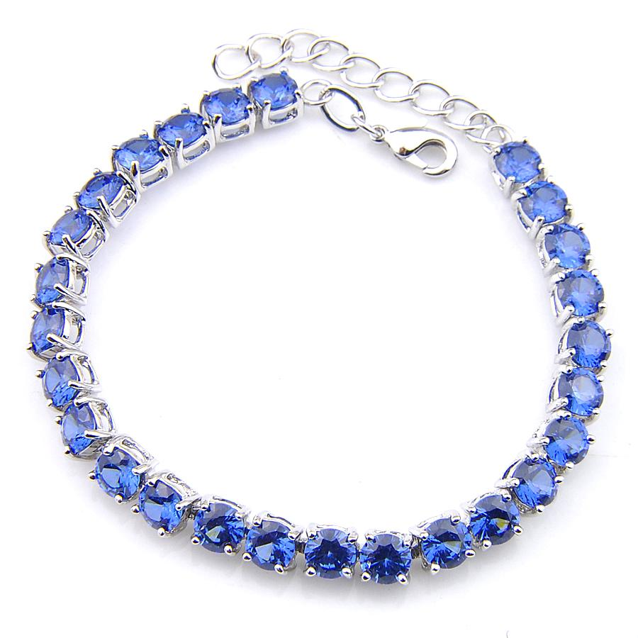 Luckyshine New Arrival 6 Sztuk / partia Kobiety Biżuteria Wiersz Rhinestone Okrągły Niebieski Topaz Gemstone Posrebrzana Bransoletka Biżuteria ślubna 8 cal