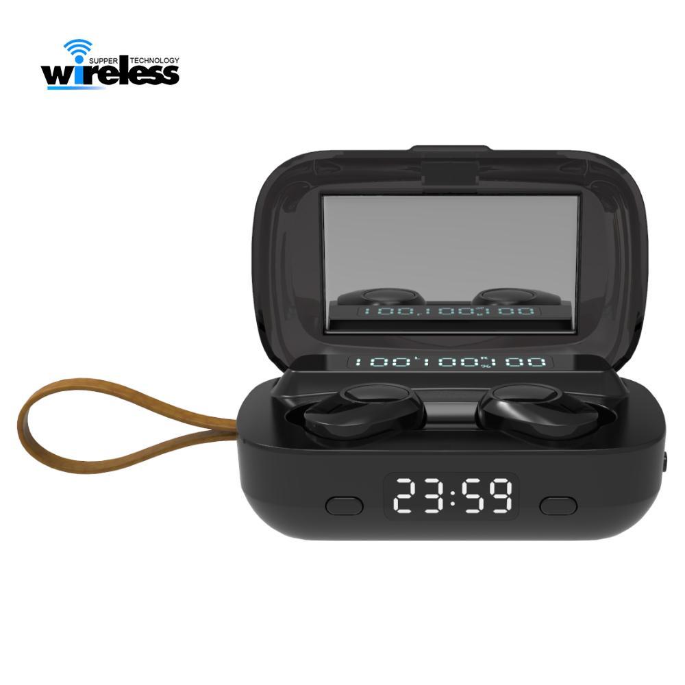 M13 TWS Waterproof Bluetooth 5.0 fone de ouvido estéreo sem fio Auscultadores sem fio Sports Earphones Toque Earbuds Com Lanterna Relógio