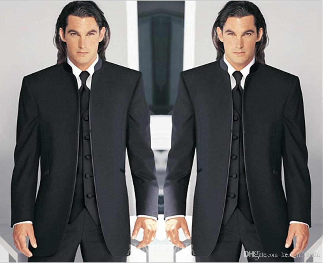 Preto Noivo Smoking mandarim lapela melhor homem Groomsmen Men casamento Ternos Noivo (Jacket + Calças + Tie + Vest) Custom Made KM6004