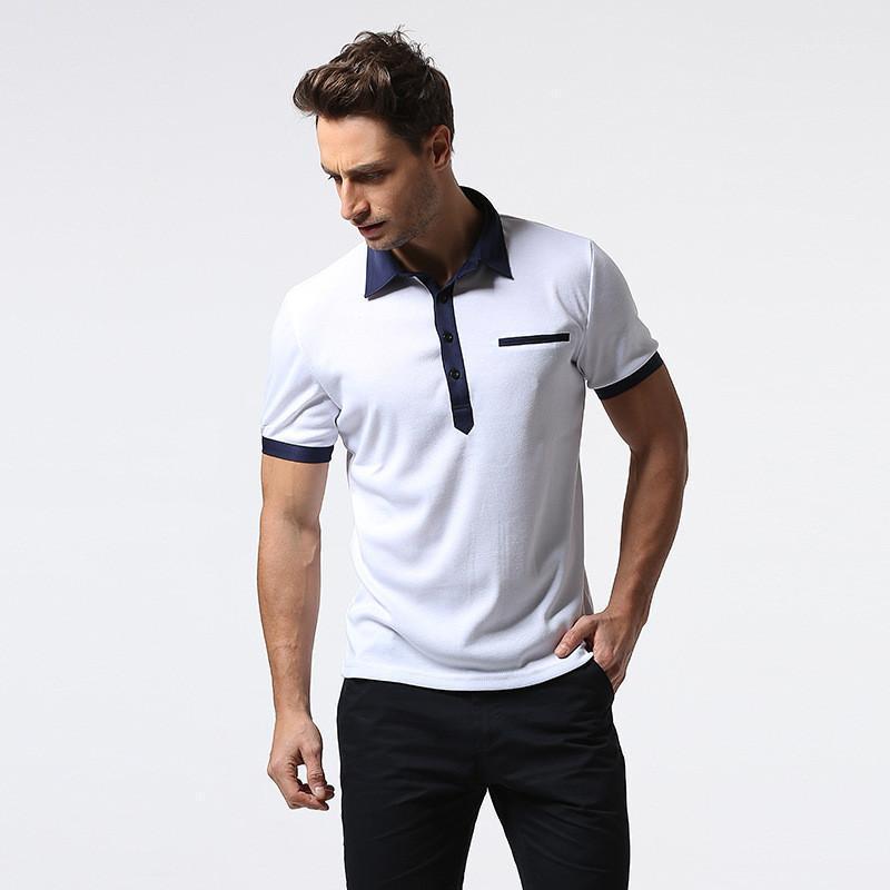 Boyun Patchwork Kısaca Tees Günlük Yaz Erkek tişörtleri Mavi Siyah Beyaz Yaz Erkek Katı Renk Polos Yaka