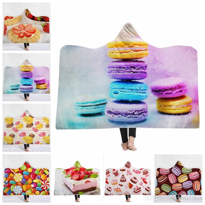Торт с капюшоном Одеяло Macarons Одеялки Десерт Печатный Sherpa Бросьте Пледы ТВ Диван Диван спальный мешок 39 цветов 5шт DHW1767