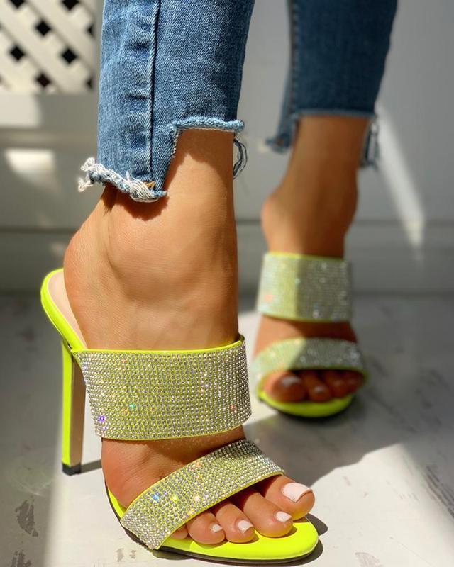 Mujer del partido WDHKUN boda bombea el tamaño Diapositivas Plus 41 atractivas cristal amarillo sandalias de las mujeres del verano 2020 zapatos de tacón de aguja Gladiador