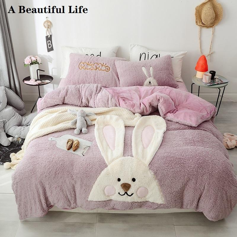 Cartoon Pink Rabbit Unicorn Dinosaur Embroidery Fleece Fabric Child Bedding Set Flannel Velvet Duvet Cover Bed sheet Pillowcases T200422