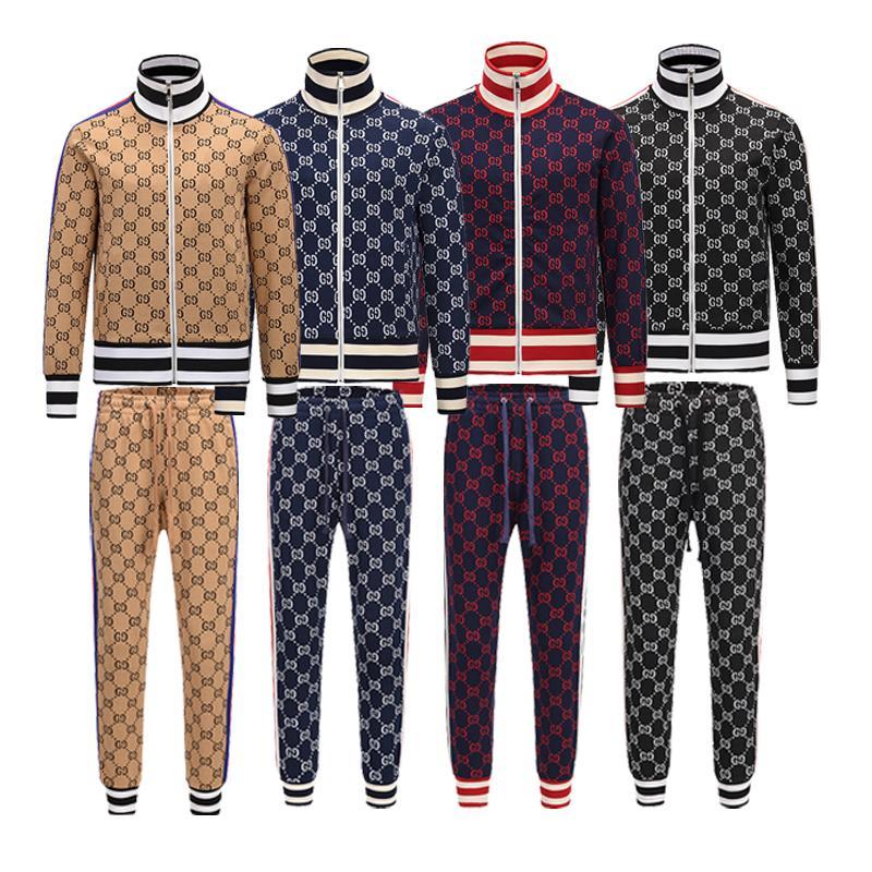 2019 hombres de diseño de marca de chándal para hombre sudaderas ver otoño lujo chándales del basculador de los juegos de pantalones Chaqueta Conjuntos Sporting Traje de impresión hombres V1YP