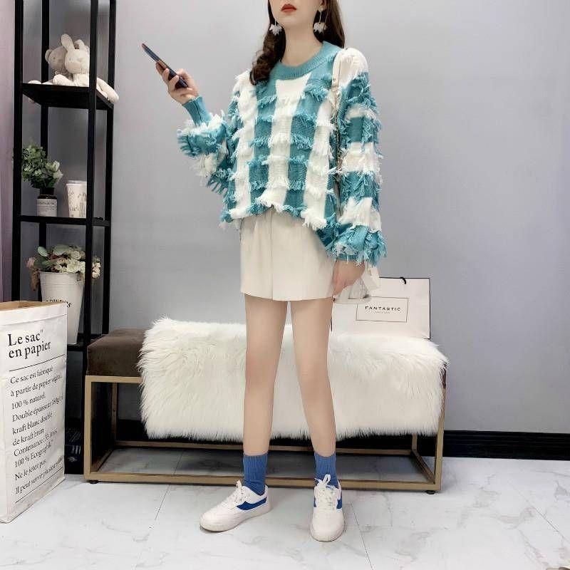 2020 Nouveau Printemps Automne Femmes Tops Pull O col en tricot rayé Tassel doux doux en vrac mince manches longues chaud vente Pull T02