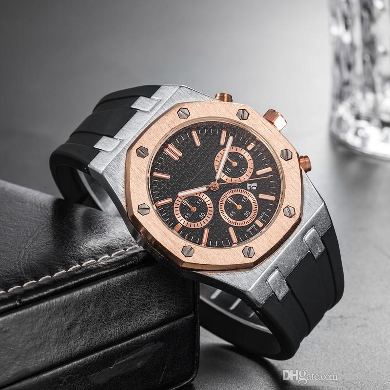 Prix de gros pas cher Mens de luxe Sport montre-bracelet 45mm Quartz mouvement montre homme horloge avec bande de caoutchouc au large