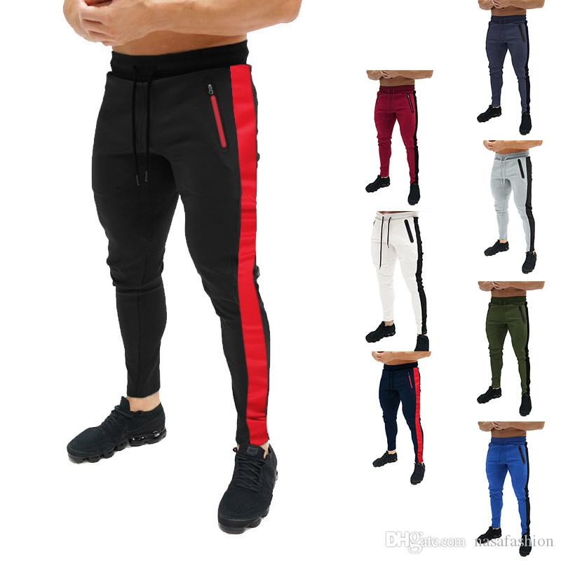 Pantalones de lápiz de cintura elástica a rayas de primavera Pantalón de chándal para hombre de diseño de atletismo casual para hombre