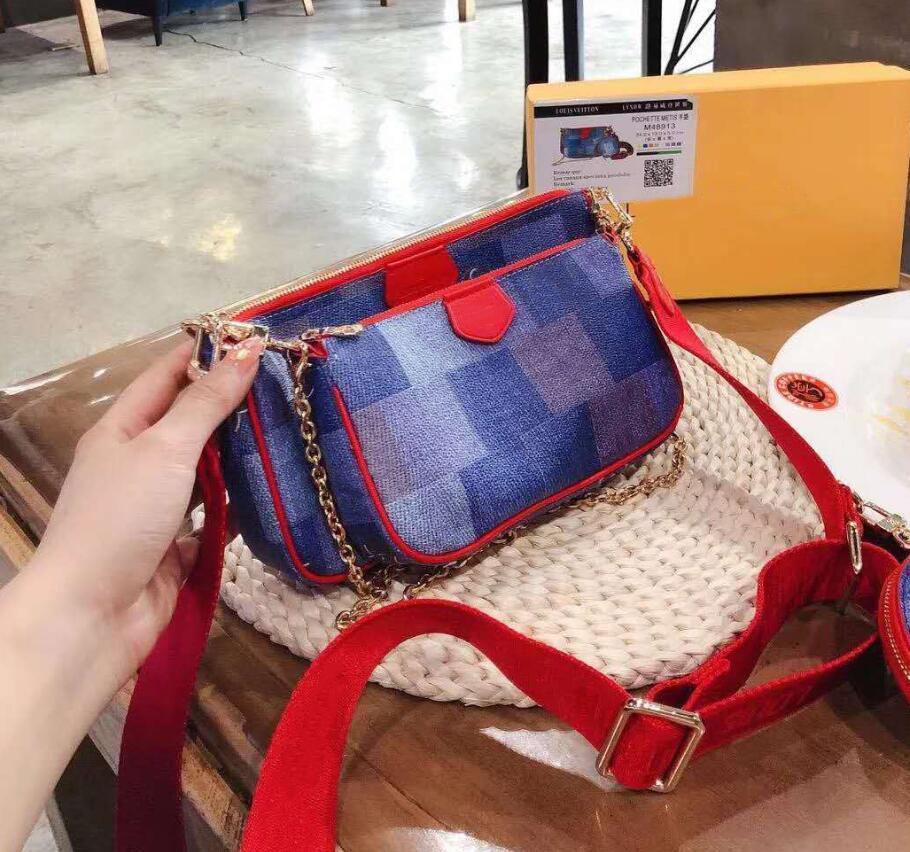 Designer Multi Pochette Marken Taschen neue Art und Weise Frauen Kleine Schultertasche Kette Umhängetasche Luxus-Handtaschen-Geldbeutel 3 PC Abendtaschen