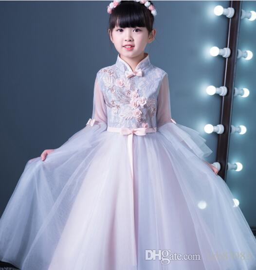 2019 New Glizt Appliques Violet Lace Girls Wedding Dress flower Girl Dress Bead Half Sleeve Girls Prom Formal Dress First Communion Gown