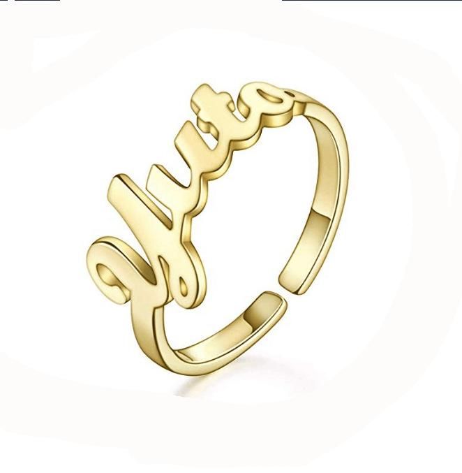Custom name ring Personalized 1 mm2 mm width name Ring Any name couple/'s ring gifts for her sterling silver 18 K gold