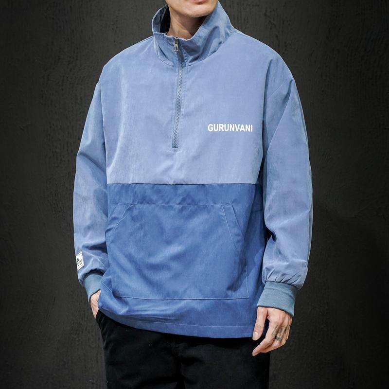 Мужчины пуловер куртка 2020 весна осень мужских Hip Hop Повседневная Coat Man Пара Streetwear Bomber Jacket Мужская Лоскутная Ветровка