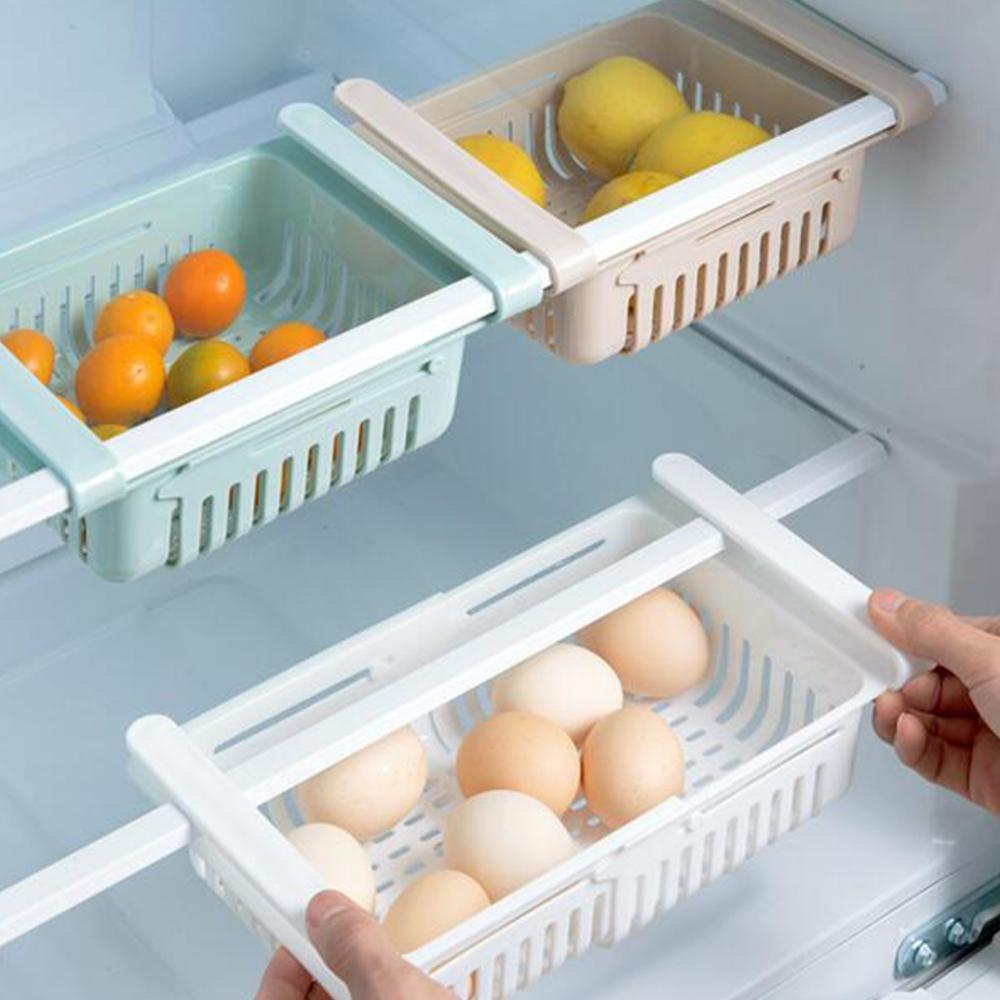 Erweiterbare Rack-Clip Küche-Speicher-Organisator Länge verstellbar Kühlschrank Regal-Aufbewahrungsbehälter-Multifunktionshalter Ausziehbare Schublade 1