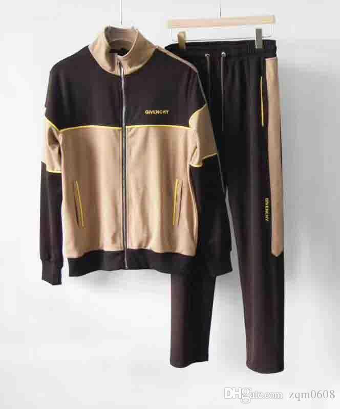 Tute design Tuta uomini di marca vedono autunno Mens di lusso Tute Jogger Abiti Giacca Pantaloni Completi sportivi del vestito di stampa del cotone degli uomini