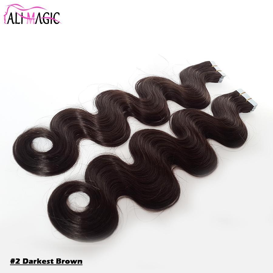 Tape dans une extension de cheveux Vague du corps brésilienne Skin invisible EXTENSION DE CHEVEUX DE TRAITE Noir Blonde Brown Darkest 14 à 24 pouces 100g / 40pieces usine