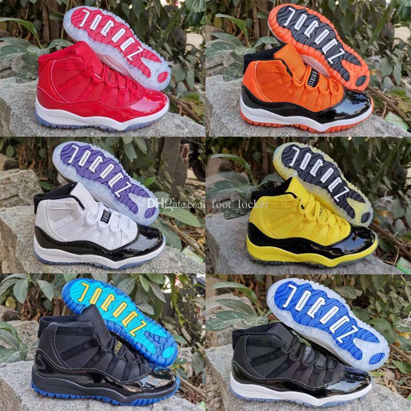 2020 جديد الاطفال jumpman 11 11 ثانية مربى الفضاء bed كونكورد رياضة الأحمر الرجعية كرة السلة أحذية الأطفال بوي الفتيات الأبيض الوردي منتصف الليل أحذية البحرية