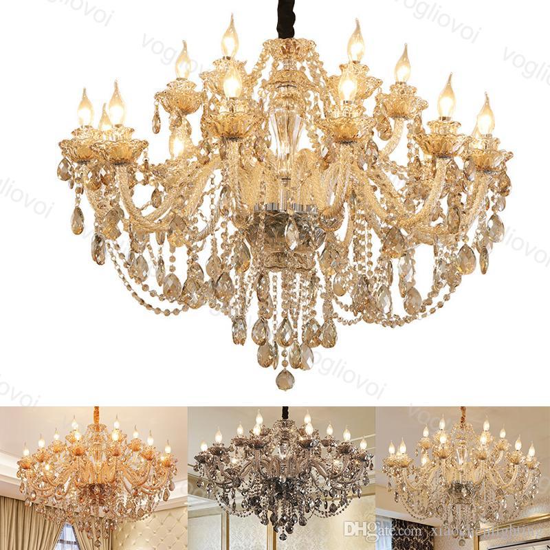 Kristal avize kül konyak amber Avrupa tarzı e14 oturma odası yatak odası yemek odası için villa dhl