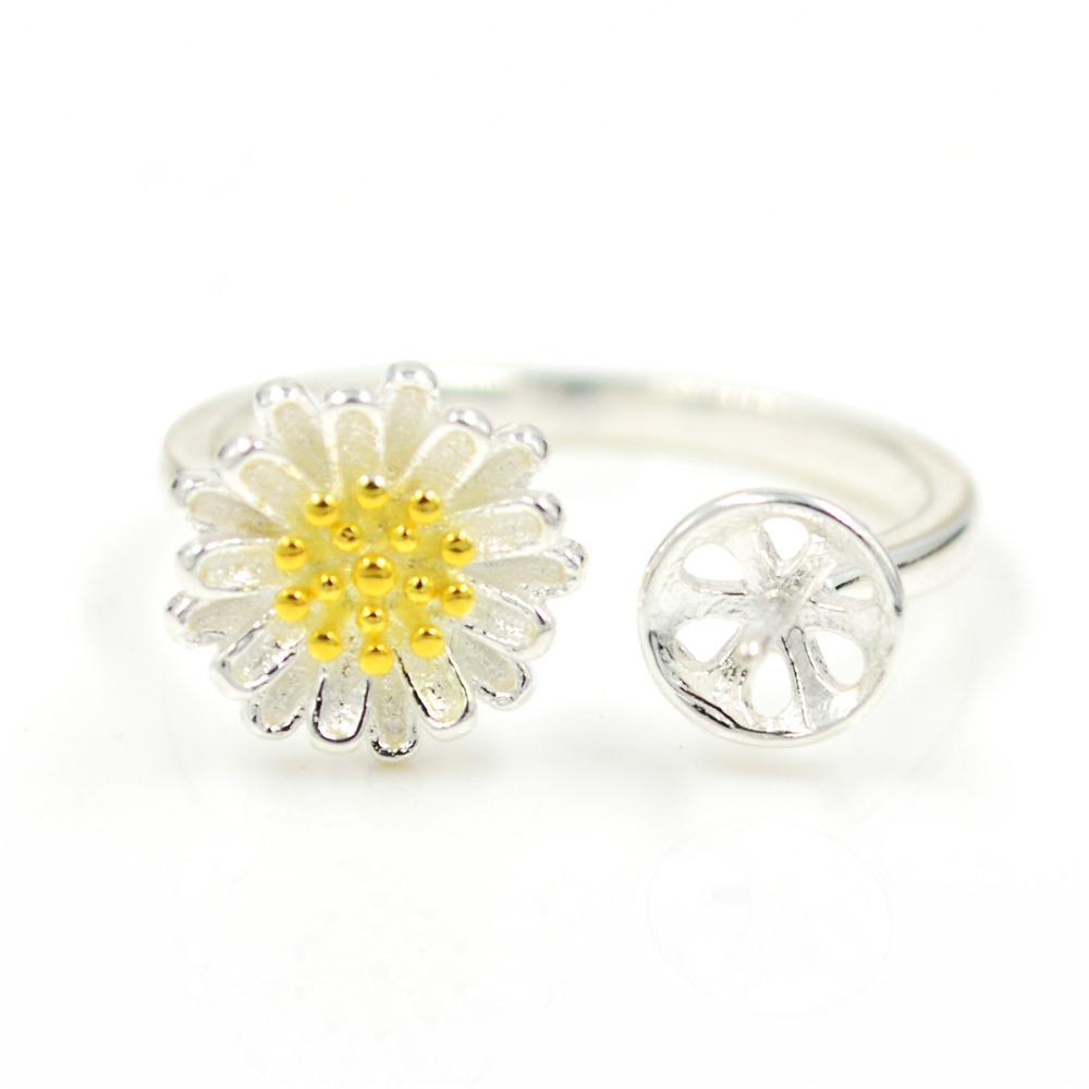 S925 стерлингового серебра кольцо крепления хризантемы кольцо крепления для женщин ювелирные изделия из жемчуга diy бесплатная доставка регулируемый открытие кольцо крепления
