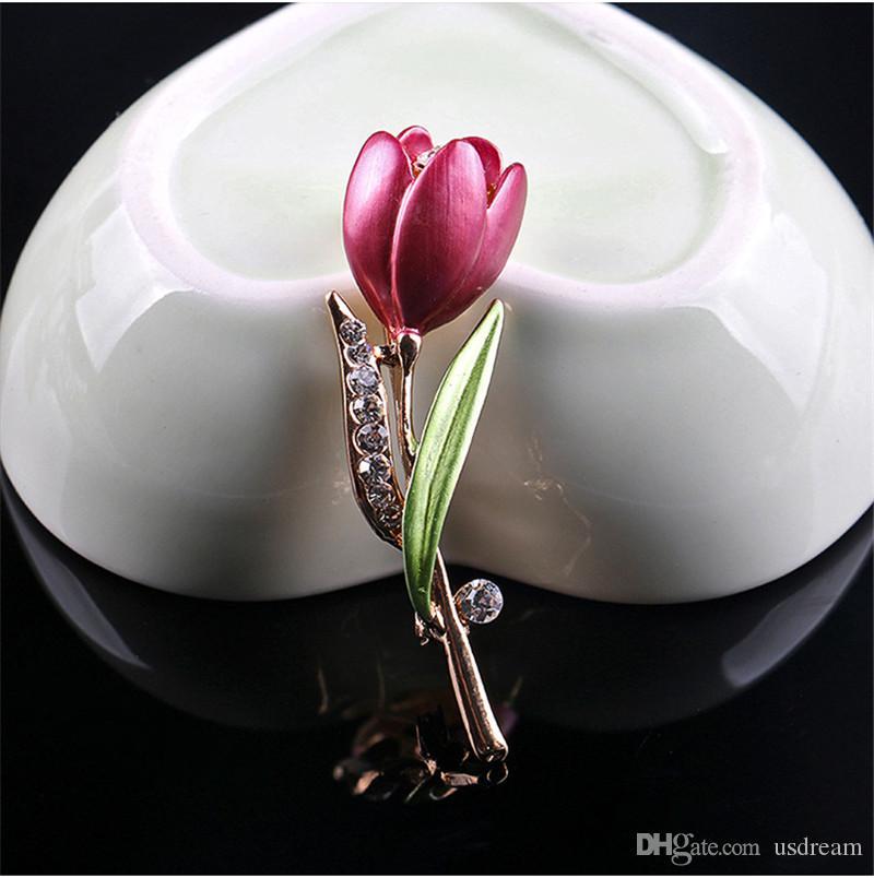 Алмазный цветок тюльпан брошь Pins Эмаль брошь цветок корсаж штыри отворотом броши ювелирные изделия Свадебные брошь моды для женщин 370197