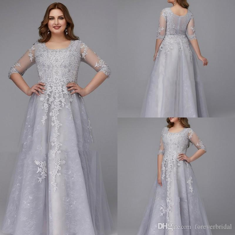 Elegant Mother Of Bride Dresses Scoop Neck Lace Long Sleeves Formal Gowns Applique Prom Party Dresses For Wedding