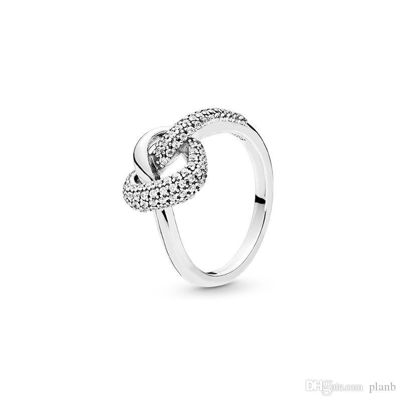 Yeni varış Düğümlü Kalp Yüzük Orjinal Kutusu Pandora için 925 Gümüş cz Elmas Kadınlar Düğün Hediye Takı Yüzük Setleri