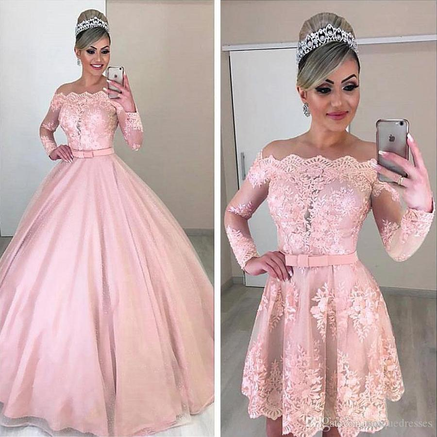 Two Pieces Removable Skirt Prom Dresses Pink Lace Long Sleeve Off Shoulder A Line Fashion 2020 Evening Party Gowns Plus Size