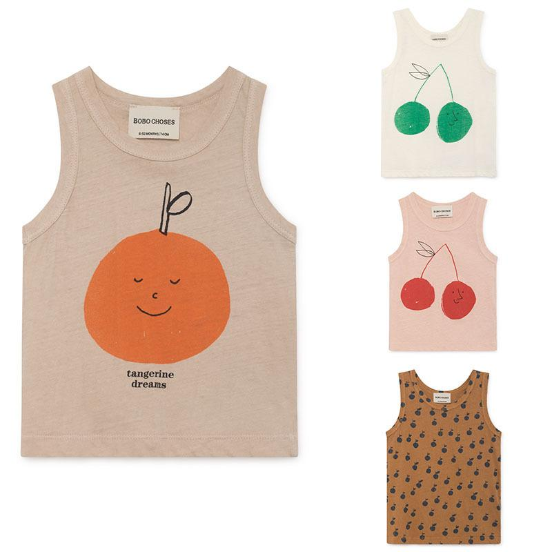 J190529Fashion Bobo Choses 2019 Summer Kids T-Shirt for Boys and Girls Kids Bobo Chose Cherry Apple Print Tops Tank J190529