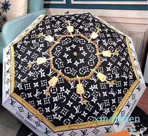 Design Guarda-chuva Carta Mulheres Homens luxo clássico Prited Camellia Umbrella 3 logo luxo Fold Umbrella Windproof COM CAIXA DE PRESENTE