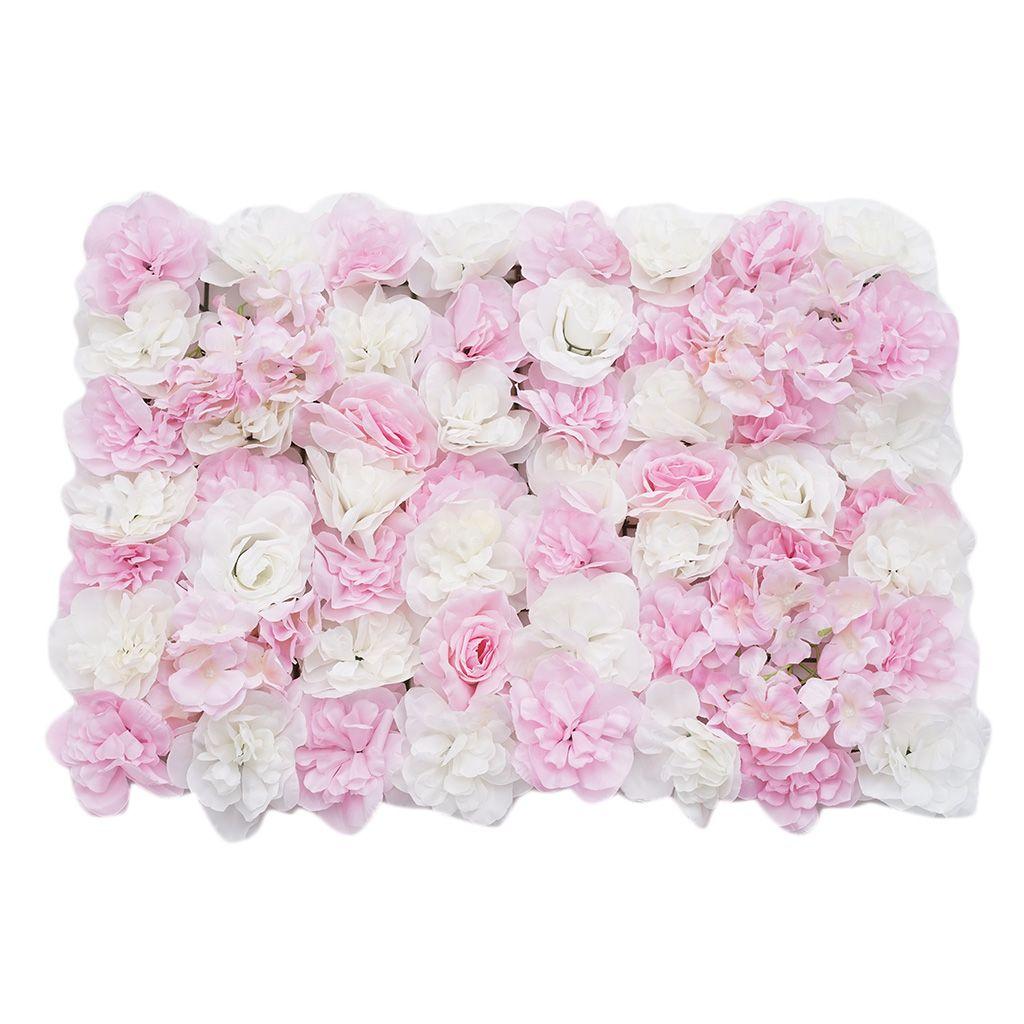 3pcs Artificial Rose Hydrangea Flower Wall Panels Wedding Decor Pink White