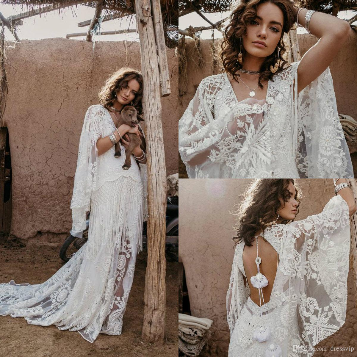 Vintage Bohemian Wedding Dresses With Wrap Lace Appliqued Sweep Train V Neck Tassel Hollow Back Beach Wedding Dress Plus Size Bridal Gowns