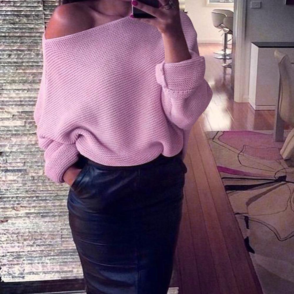 Maglioni da donna autunno inverno Donna Spalle scoperte Lavorazione a maglia pesante Maglione largo oversize Maglione Top Pullover casual # 15