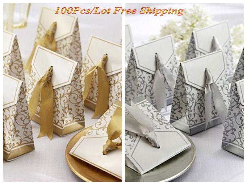 100 pçs / lote prata e fita de ouro caixas favoritas para caixinha de casamento e festa e festa de festa de chuveiro nupcial favores