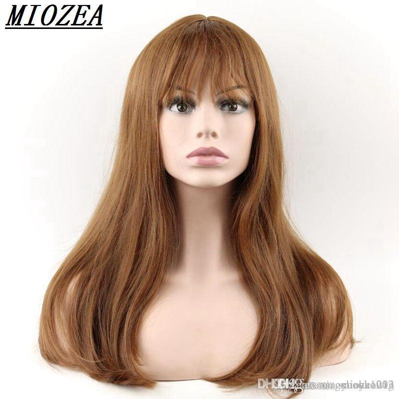 El pelo largo peluca sintética de alta temperatura de fibra Cabello castaño 50cm de largo pelucas