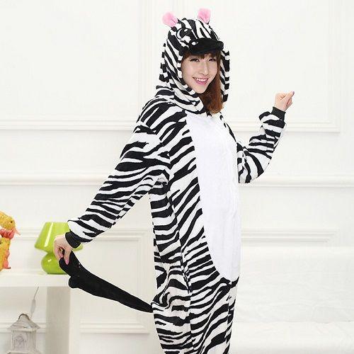 New Women Pajamas Zebra onesies for adults Unisex Cute Warm Winter pyjamas Women Cosplay Cartoon Zebra Animal Pajama Set Sleepwear