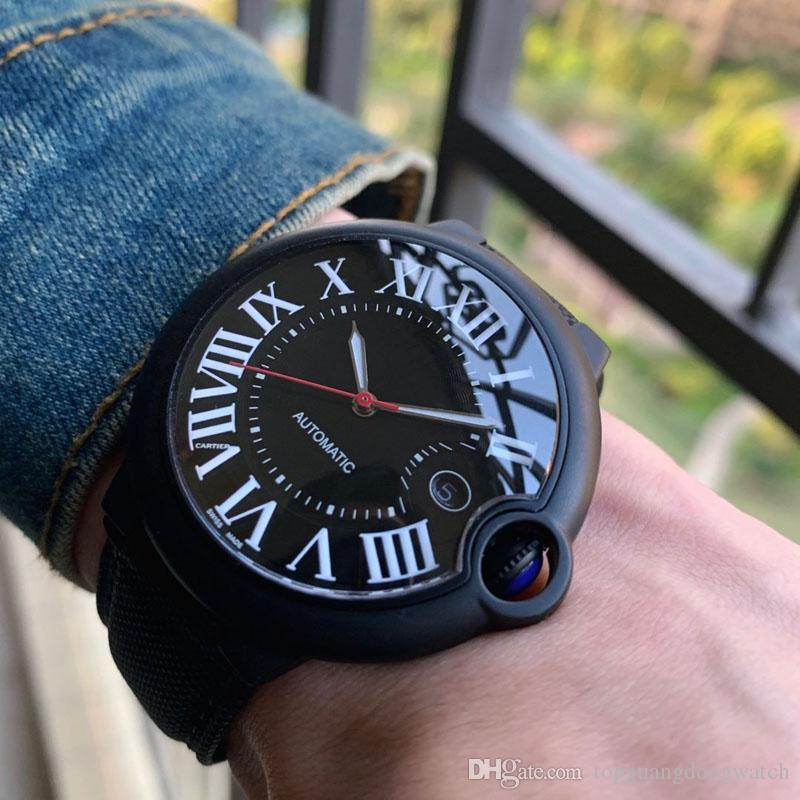 Luxury Automatic Sapphire Guarda Uomo Dial Fashion Dial Knight Movimento 42mm Nero Nero Nylon 280799 Mens Gentleman's Gentleman Gift regalo Wewij