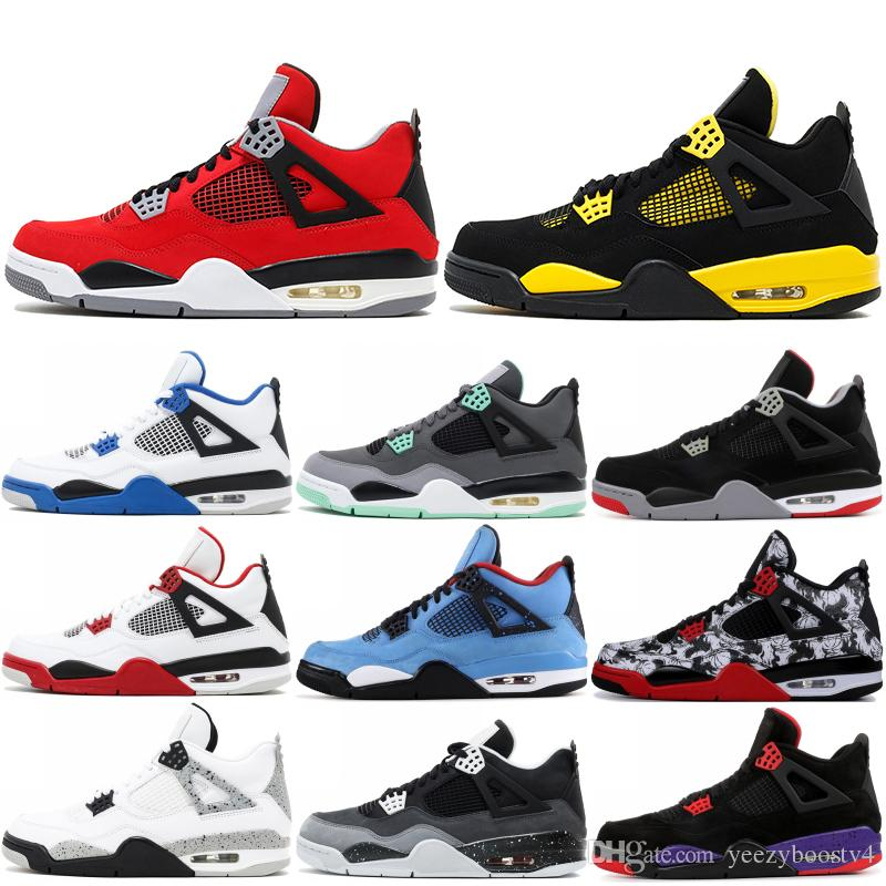 Donner 4 4 s Männer Basketball Schuhe 2019 Neue Tattoo Schwarze Katze Raptor Military Blue Cavs Turnschuhe Sportschuhe Größe 7-13