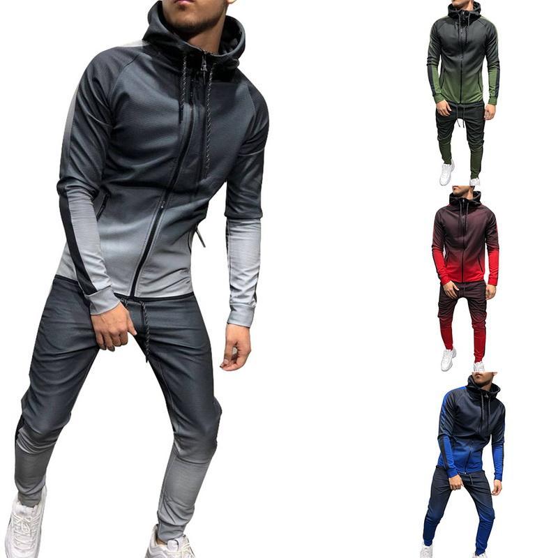 Heflashor Mens 봄 2 PC 정장 세트 Sportwear Hoodie 자켓 스웨트 팬츠 Tracksuit 패션 캐주얼 그라디언트 프린트 조깅