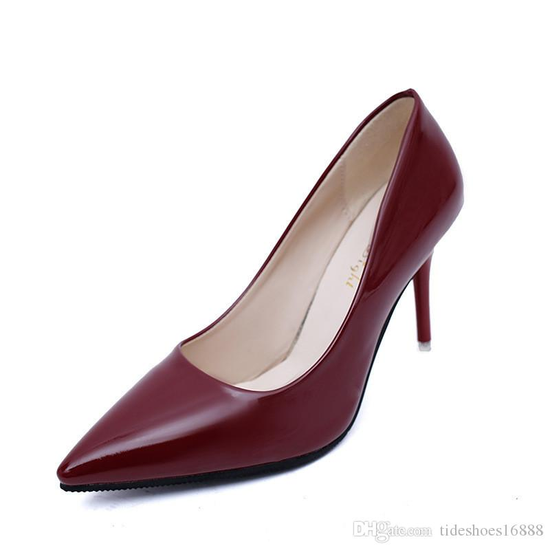 Stiletto Heels Black Red Shoes Pointed Heels Women Pumps Patent Leather Dress Shoes Women Classic white Heel Shoes Woman Work Shoe