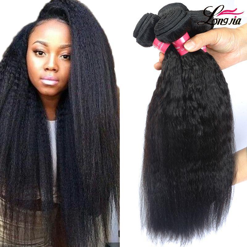 cabelos lisos tecer yaki virgem não transformados brasileira Humano Kinky tece Longjia produtos de cabelo prémio de cabelo novo tece 3 pacotes