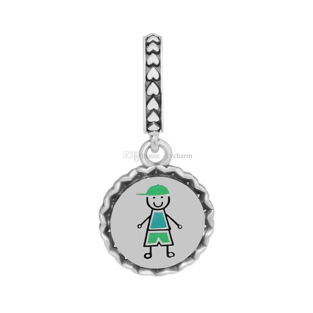 Adatto Pandora Bracciale Charms Silver Jewelry 925 Boy Stick Figure ciondola branelli di fascino dello smalto misto per fare gioielli