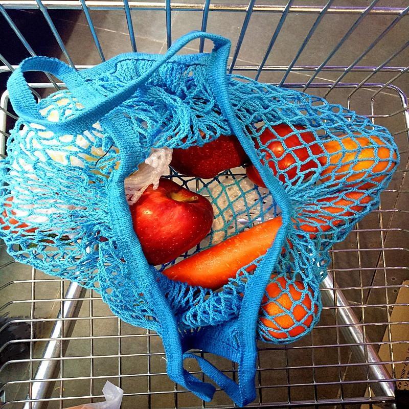 Práctica la red del acoplamiento de la compra Bolsas Frutas Vegetales portátil plegable Bolsa de algodón reutilizable cadena tortuga bolsas para las misceláneas de cocina