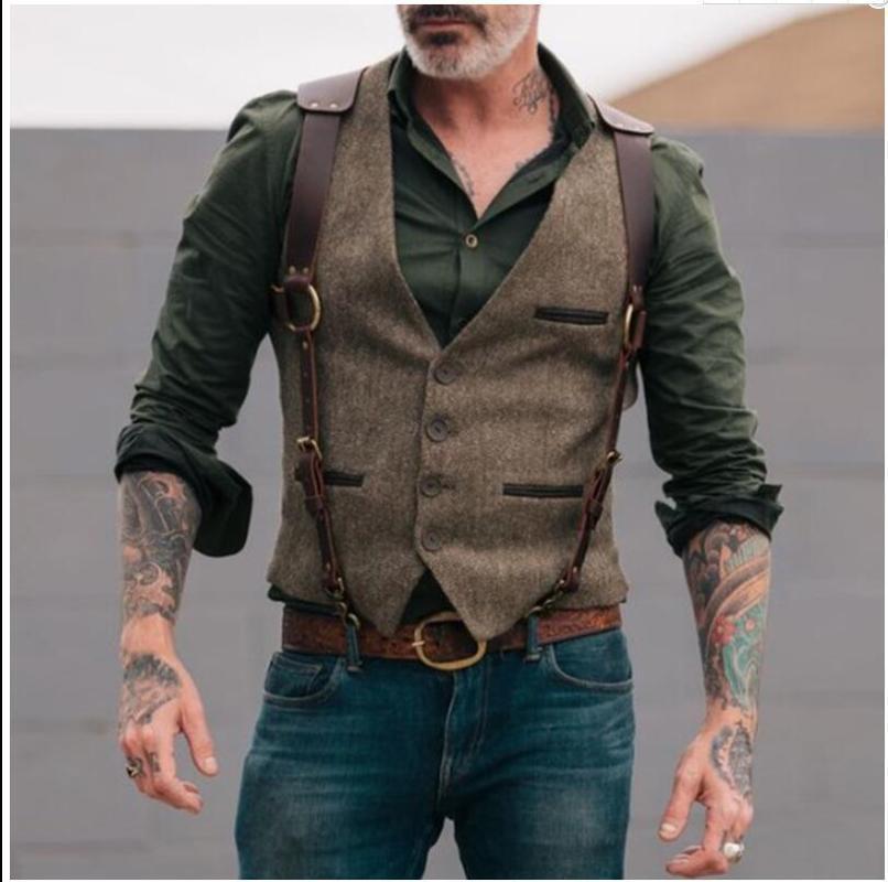 Costume JODIMITTY Gilet Boutique Homme laine Tweed Slim Fit Coton Loisirs Homme Gentleman Beckham affaires Waistcoat pour le mariage